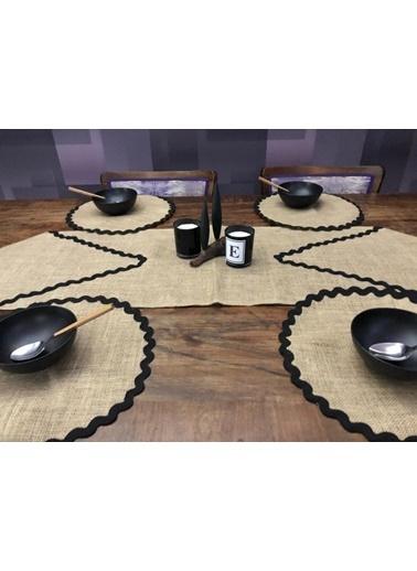 Giz Home Giz Home Ta42 E&C Jüt 6 Kişilik Şeritli Kahve Runner Ve Supla Takımı Renkli